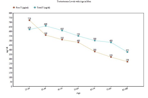 Graf of declining Free and Total Testosterone - Testosterone Levels with Age in Men
