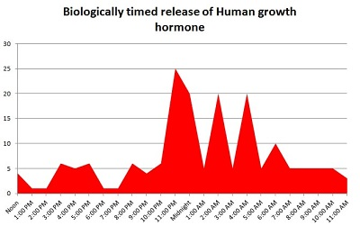 Biologically timed release of Human growth hormone
