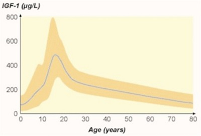 This chart details the typical decline in HGH levels across the lifespan